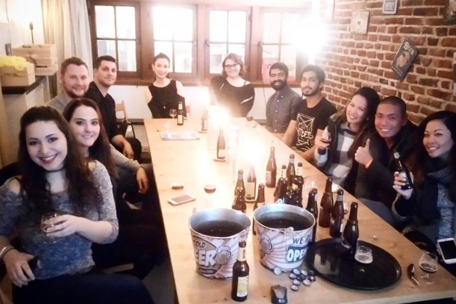 group of people tasting beer and chocolate